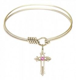 Smooth Bangle Bracelet with a Birthstone Cross on Cross Charm [BRST068]