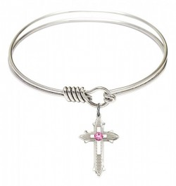 Smooth Bangle Bracelet with a Birthstone Cross on Cross Charm [BRST069]