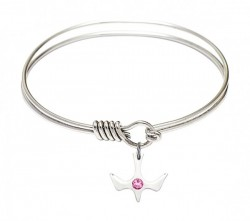 Smooth Bangle Bracelet with Birthstone Holy Spirit Charm [BRST055]