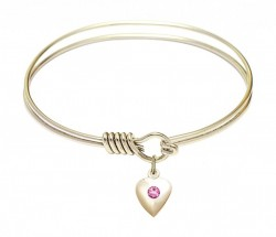 Smooth Bangle Bracelet with a Birthstone Puff Heart Charm [BRST039]