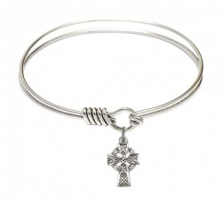 Smooth Bangle Bracelet with a Celtic Cross Charm [BRS4133]