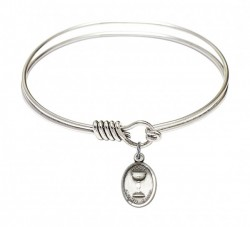Smooth Bangle Bracelet with an Oval Chalice Charm [BRS0976]