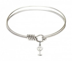 Smooth Bangle Bracelet with a Chalice Charm [BRS5614]