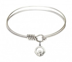 Smooth Bangle Bracelet with a Claddagh Charm [BRS4113]