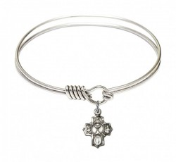 Smooth Bangle Bracelet with a Communion 5-Way Charm [BRS0890]