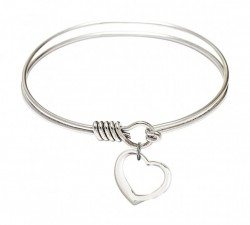 Smooth Bangle Bracelet with a Contemporary Open Heart Charm [BRS4208]