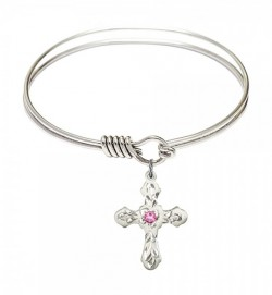 Smooth Bangle Bracelet with a Cross Charm [BRST059]