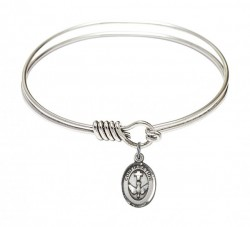 Smooth Bangle Bracelet with a Cross Dove Confirmation Charm [BRS0973]