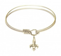 Smooth Bangle Bracelet with a Fleur de Lis Charm [BRS0293]