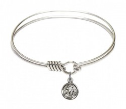Smooth Bangle Bracelet with a Guardian Angel Charm [BRS2340]