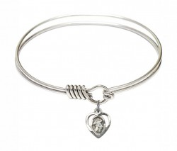 Smooth Bangle Bracelet with a Guardian Angel Charm [BRS5407]