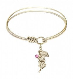 Smooth Bangle Bracelet with a Guardian Angel Charm [BRST041]