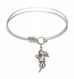 Smooth Bangle Bracelet with a Guardian Angel Charm [BRST042]