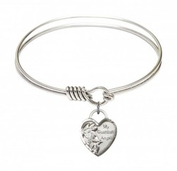 Smooth Bangle Bracelet with a Guardian Angel Heart Charm [BRS3402]