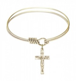 Smooth Bangle Bracelet with a Heart with Chalice Charm [BRS3148]