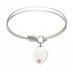 Smooth Bangle Bracelet with a Heart Charm [BRST038]