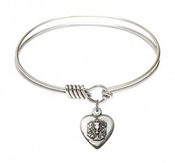 Smooth Bangle Bracelet with a Heart Communion Charm [BRS0892]