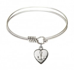 Smooth Bangle Bracelet with a Heart Confirmation Charm [BRS0891]