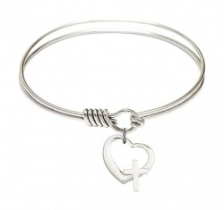 Smooth Bangle Bracelet with a Heart and Cross Charm [BRS4207]