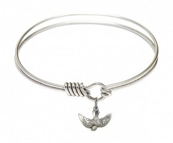 Smooth Bangle Bracelet with a Holy Spirit Charm [BRS5911]