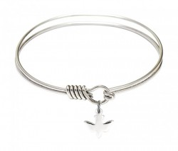 Smooth Bangle Bracelet with a Holy Spirit Dove Charm [BRS0225]