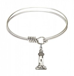 Smooth Bangle Bracelet with a Lighthouse Charm [BRS5922]
