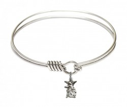 Smooth Bangle Bracelet with a Littlest Angel Charm [BRS4254]