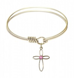 Smooth Bangle Bracelet with a Loop Cross Charm [BRST035]