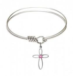 Smooth Bangle Bracelet with a Loop Cross Charm [BRST036]