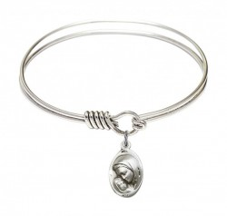 Smooth Bangle Bracelet with a Madonna & Child Charm [BRS5447]