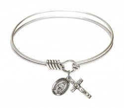 Smooth Bangle Bracelet with a Miraculous and Crucifix Charm [BRS0702MSETS]