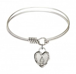 Smooth Bangle Bracelet with a Miraculous Heart Charm [BRS3401]