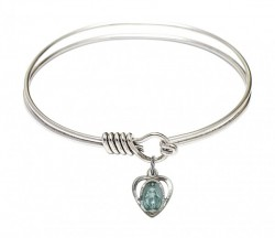 Smooth Bangle Bracelet with a Miraculous Heart Charm [BRS5401E]