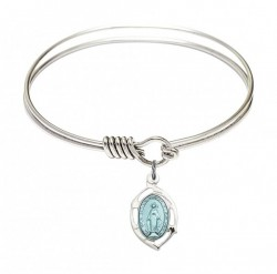 Smooth Bangle Bracelet with a Miraculous Leaf Charm [BRS4258M]