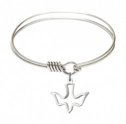 Smooth Bangle Bracelet with a  Open-Cut Holy Spirit Charm [BRS1510]
