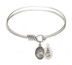 Smooth Bangle Bracelet with Our Lady of Mount Carmel Charm [BRS9243]
