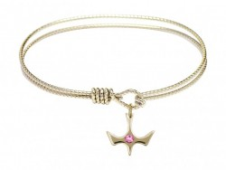 Cable Bangle Bracelet with a Petite Holy Spirit Charm and Birthstone [BRST023]