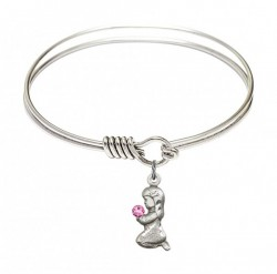 Smooth Bangle Bracelet with a Praying Girl Charm [BRST043]