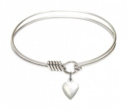 Smooth Bangle Bracelet with a Puff Heart Charm [BRS4158H]