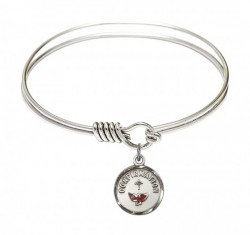 Smooth Bangle Bracelet with a Red Dove Charm [BRS0601X]