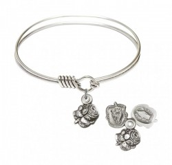 Smooth Bangle Bracelet with a Rosebud Charm [BRS0202]
