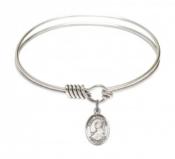 Smooth Bangle Bracelet with a Saint Benjamin Charm [BRS9013]