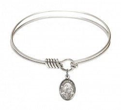 Smooth Bangle Bracelet with a Saint Bernard of Montjoux Charm [BRS9264]