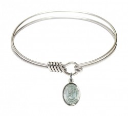 Smooth Bangle Bracelet with a Saint Christopher Charm [BRS9022E]