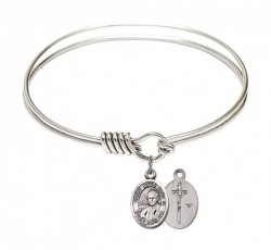 Smooth Bangle Bracelet with a Saint John Paul II Charm [BRS9234]
