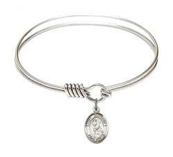 Smooth Bangle Bracelet with a Saint Margaret Mary Alacoque Charm [BRS9072]