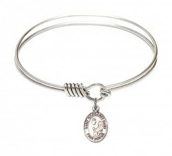 Smooth Bangle Bracelet with a Saint Margaret Mary Alacoque Charm [BRS9420]