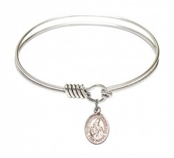 Smooth Bangle Bracelet with a Saint Margaret of Scotland Charm [BRS9407]