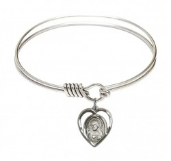 Smooth Bangle Bracelet with a Scapular Charm [BRS4126]