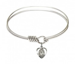 Smooth Bangle Bracelet with a Scapular Charm [BRS5402]